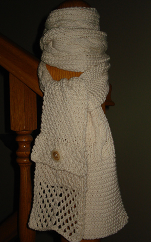 Knitted Pocket Scarf Pattern : Knitted Asymmetrical Patchwork Pocket Scarf Pattern ...